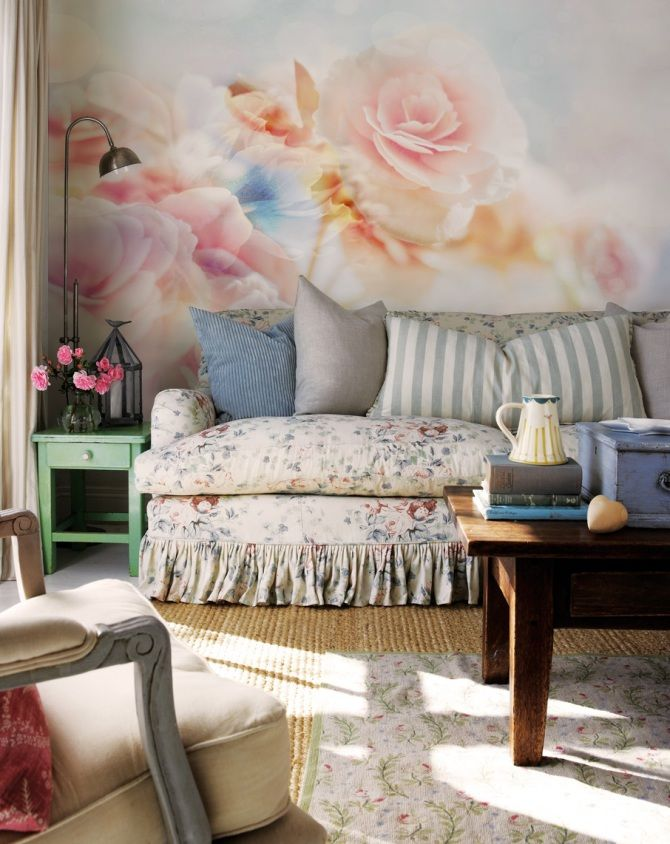 Shabby Chic Style   Roses Wall Mural By Part 43
