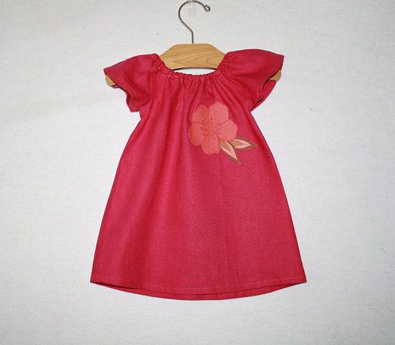 Baby Girl's Pink Linen Dress with Appliqued Flower - Size 2yrs. Custom Sizes from 6M to 8 Yrs. Available on Etsy, $43.67 CAD