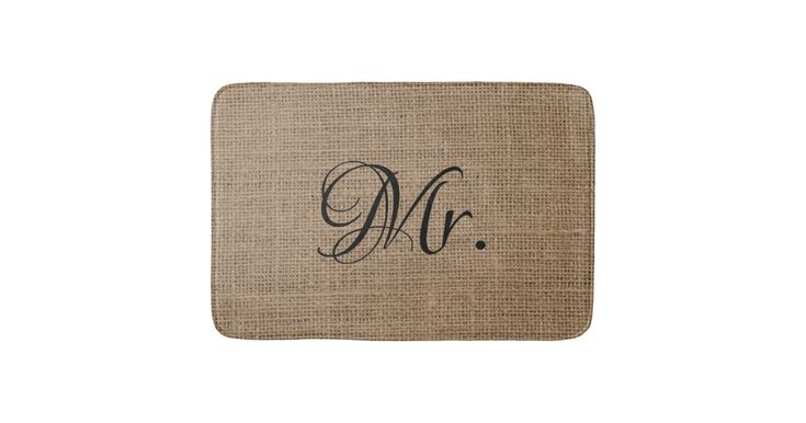 Husband His and Hers Mr and Mrs Bride Groom Burlap Bathroom Mat