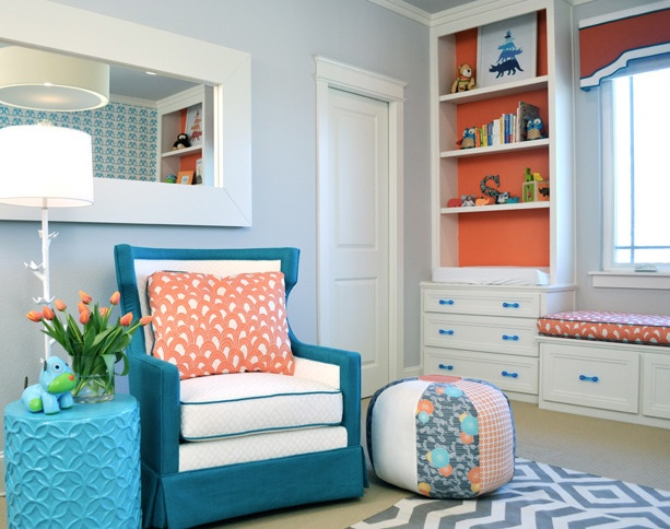 Orange and Aqua Nursery contemporary kids