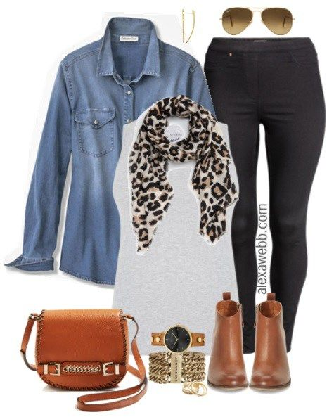 Plus Size Denim Shirt Outfit - Plus Size Fall Outfit Idea - alexawebb.com #alexawebb #fall #outfit