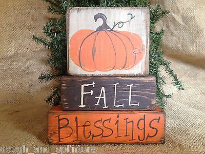 Primitive Country Pumpkin Fall Blessings Thanksgiving Shelf Sitter Wood Blocks