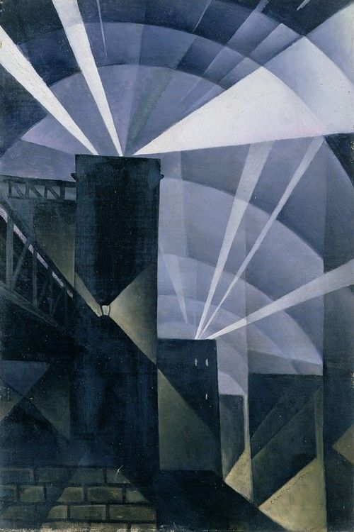 Christopher Richard Wynne Nevinson (English, 1889-1946), The First Searchlights at Charing Cross, 1914. Oil on canvas, 60.9 x 40.6 cm. City Art Gallery, Leeds.