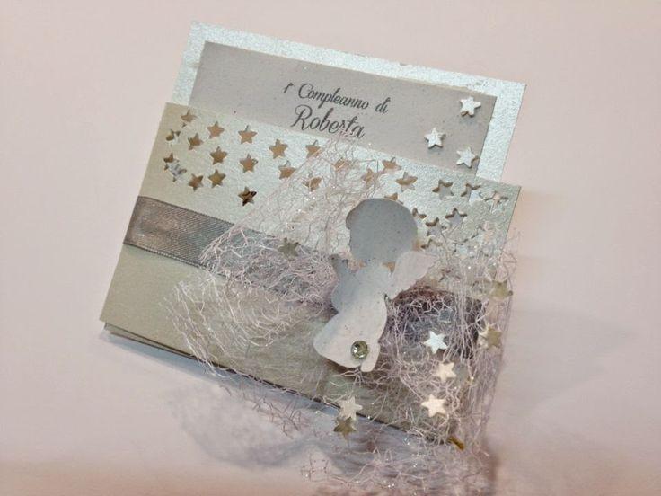 valevidesign: Invito primo compleanno a tema Angeli, stelle, Nat...