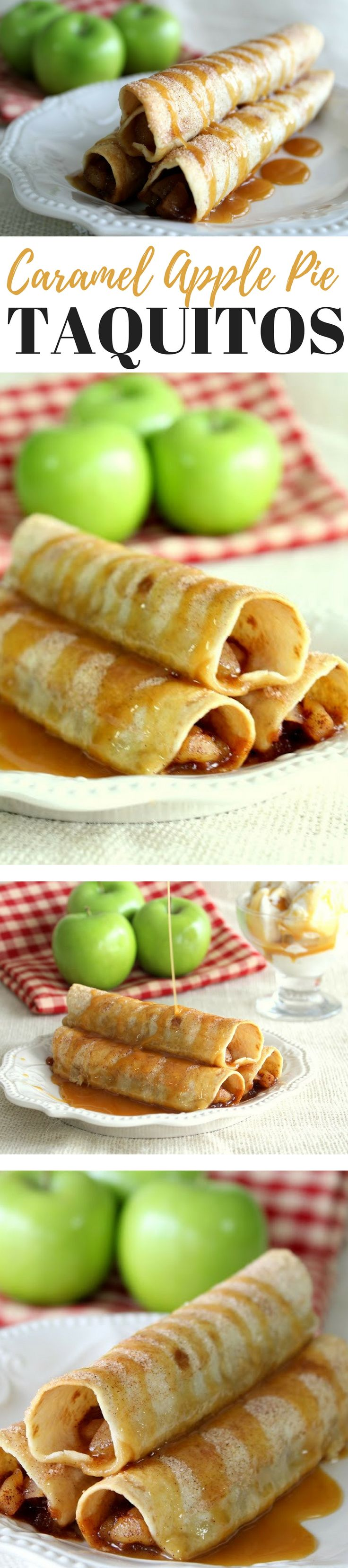 Apples with cinnamon sugar drizzled with caramel and wrapped in a crispy tortilla... yes, please! What is there not to love about this easy and delicious dessert? Top it off with some vanilla ice cream and you have a dessert fit for a king.