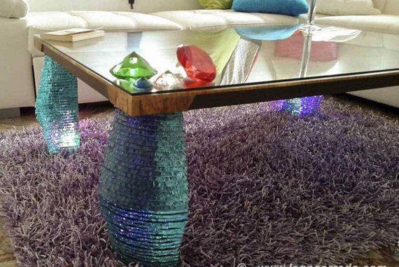 Tavolo con top in legno di ulivo secolare di ITALIANRETROPEARLS