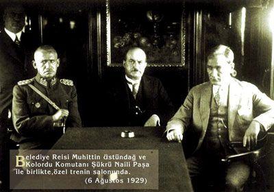 Atatürk, Muhittin Üstündağ ve Şükrü Naili (1929)