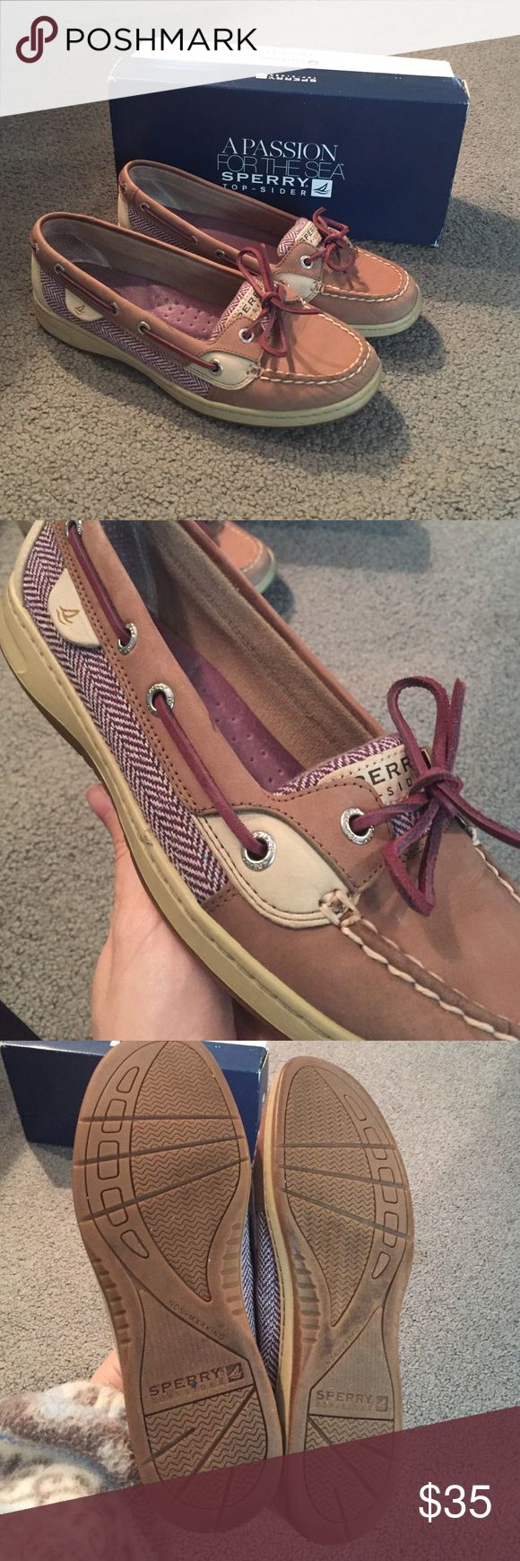 Sperry Angelfish Boat Shoes Hardly worn sperry boat shoes with an ADORABLE purple herringbone pattern. I'm really bummed these don't fit me :( size 8M and almost like new - still have the box too! Sperry Top-Sider Shoes Flats & Loafers