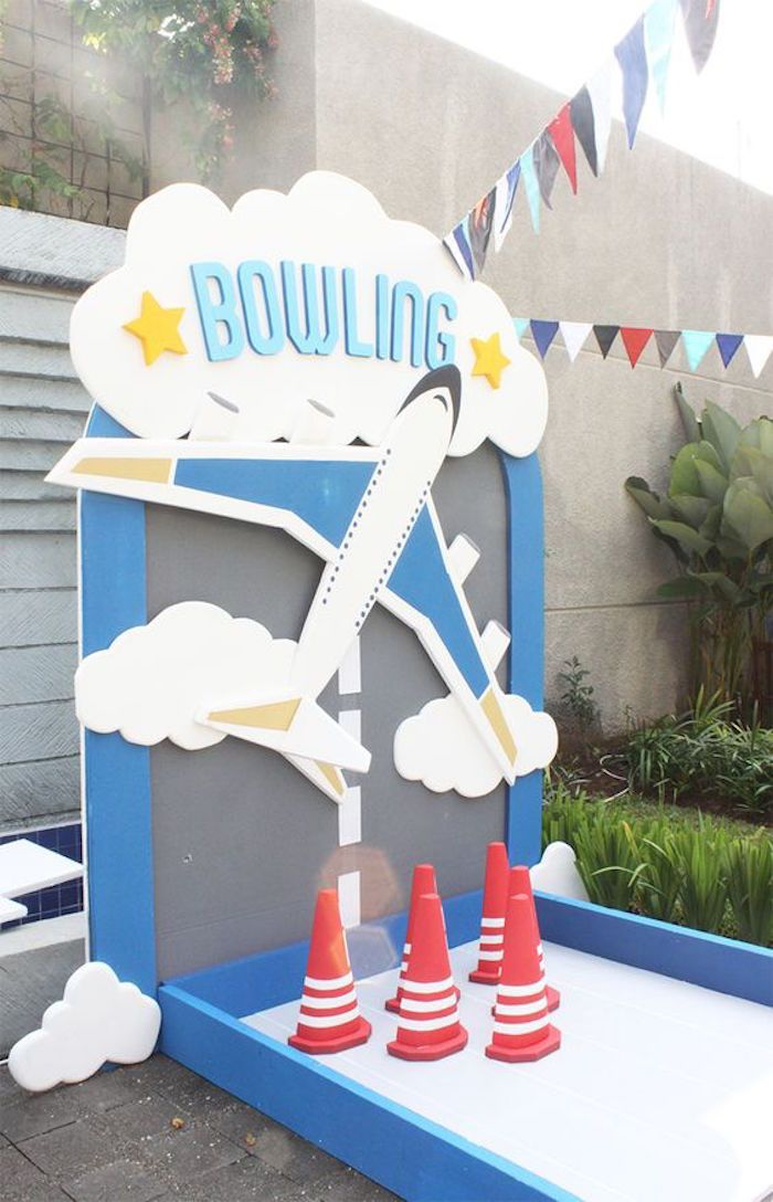 Bowling Activity from an Airplane Birthday Party via Kara's Party Ideas | KarasPartyIdeas.com (9)