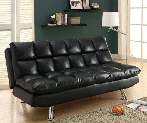 Click Clack Futon and Mattress Color: Black by Monarch Specialties Inc.. $472.56. 0. I 9107 Color: Black Features: -Biscuit tufted detailing.-Chrome metal legs.-Back drops to convert to comfortable bed. Construction: -Leather-look construction.