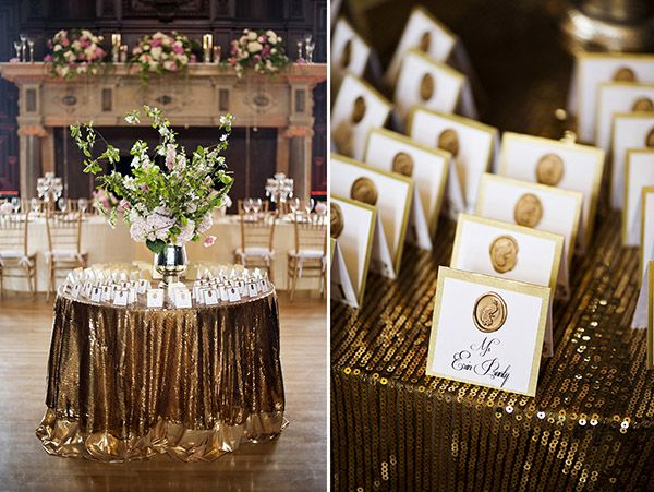 Holy gold sequin tablecloth!!!! I want one!  Justin & Mary - Photography