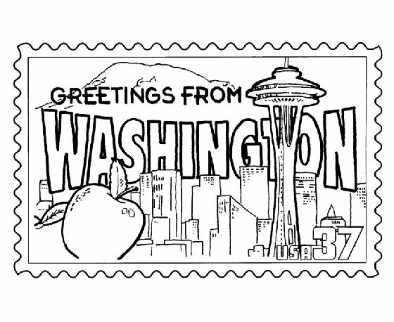 Washington State Stamp Coloring Page