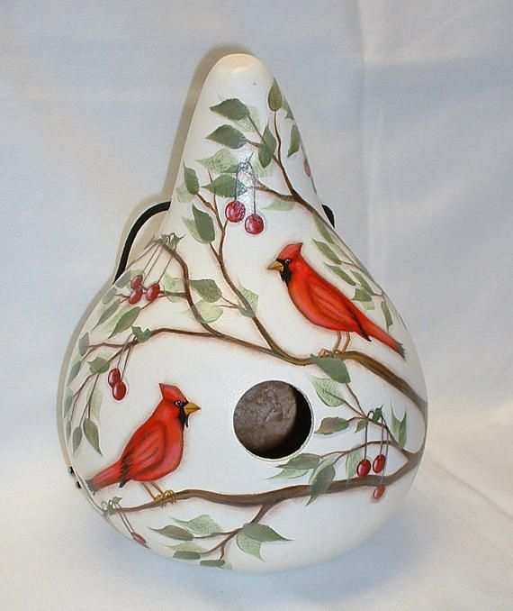 Cardinals and Cherries Gourd Birdhouse  Hand Painted Gourds