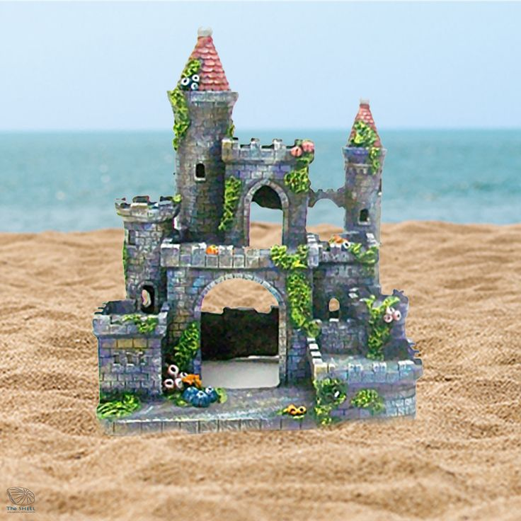 Medieval Castle Aquarium Ornament With Towers & Tunnel Hole For Fish Tank Decor