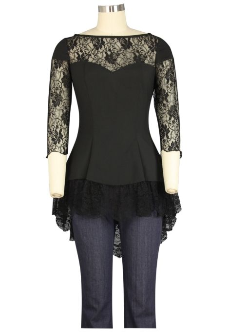 bae007ba7c9b9 Plus Size Purple   Black Gothic Lace Sweetheart Ruffle Flirty Top   Mystic  Crypt