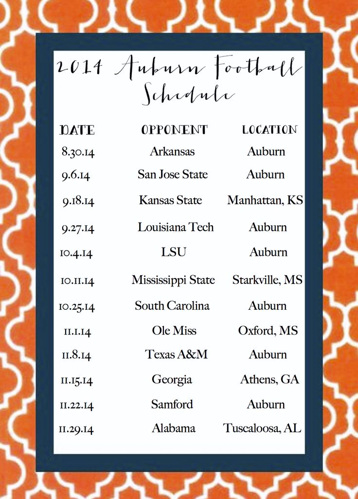 2014 Auburn Football Schedule.  Made by @iprothro