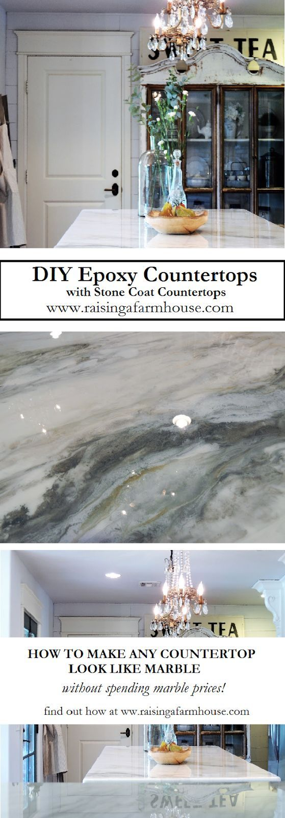 DIY Epoxy Countertops is a great alternative for covering ugly countertops, not only are they beautiful, they are scratch and stain resistant, stain proof, food grade, seamless and 100% customizable! Visit Raising a Farmhouse for her review on this amazin