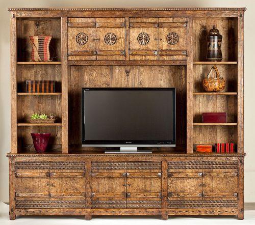 Tecolote Entertainment Center: Southwest Furniture, Santa Fe Style:  Southwest Spanish Craftsmen