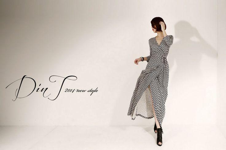 韓国婦人服通販 レディースファッション 優雅でエレガンスなスタイルを追求するDINTの美しいドレス[DINT] DRESS D-3627ユニークパタンラップロングワンピース(52次再入庫) BEACH