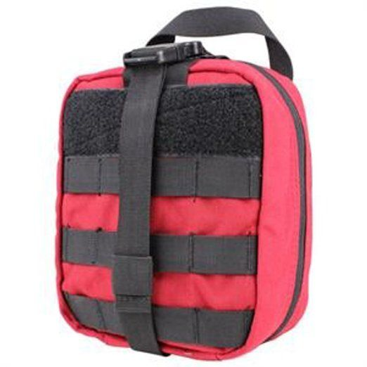 "Amazon.com : Condor Rip-away Emt Pouch - Red :  8"" x 6"" x 3.5"" size. Tri-fold design Multiple pockets and elastic loops for storage Double zipper closure 2"" patch area across front of pouch. Red only.  $26.50"