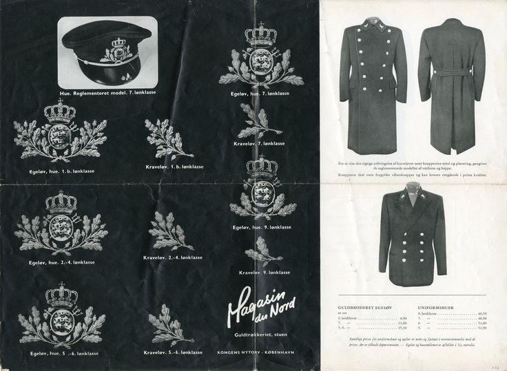 Den 21. januar 1949 blev Toldvæsenets nye uniformsreglement gennemført ved kongelig resolution. Magasin du Nord i København var det sted, huer og uniformseffekter skulle bestilles. De udgav i 1949 en folder med billeder af distinktioner for de forskellige lønklasser samt billeder af den korrekte anbringelse af distinktioner på hue og uniformsdele. Uniformerne skulle man selv købe.