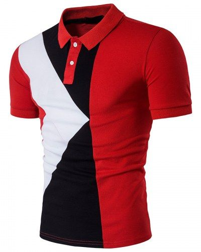 Geometric Color block polo shirt for men short sleeve
