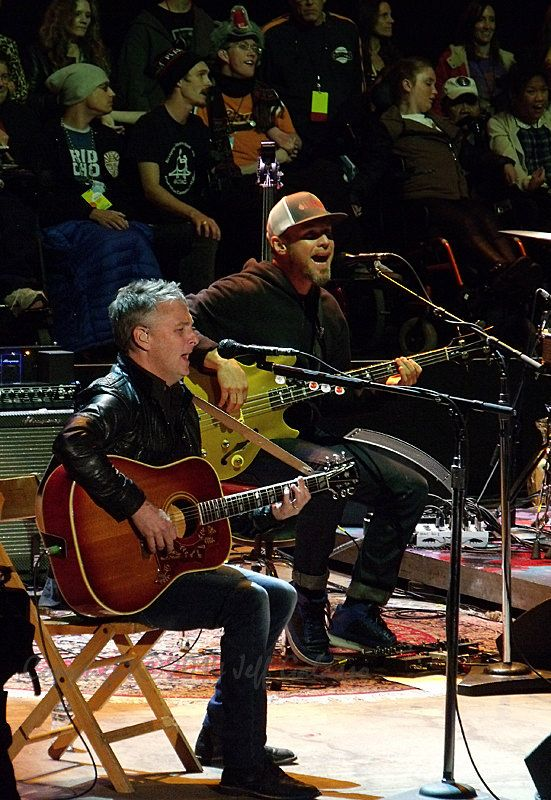 Pearl Jam's Mike McCready & Jeff Ament at the 28th annual Bridge School Benefit Concert, Shoreline Ampitheater, CA 25 October 2014 01