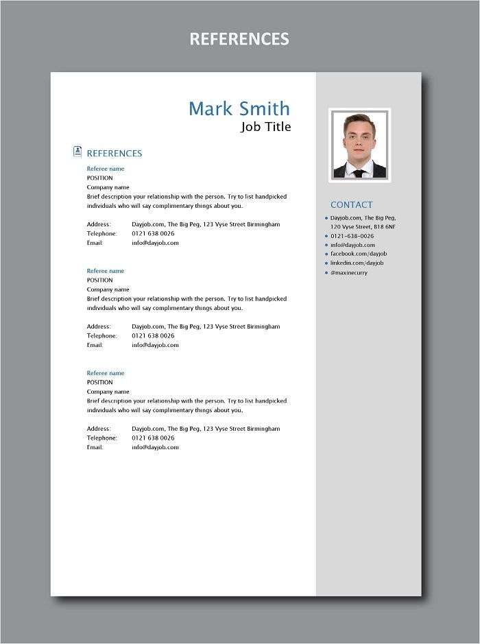 References Cv Resume Job Career Referee Employer Work Get The Fully Editable Ms Word Version Of This Exam Resume Modern Resume Template Resume Template