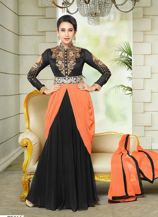 Karisma Kapoor Black Faux Georgette Bollywood Suit 63810