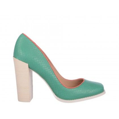 Pantofi Epica verzi, din piele naturala