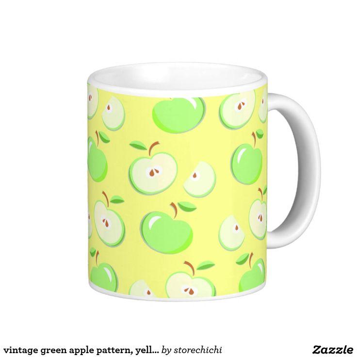 vintage green apple pattern, yellow background