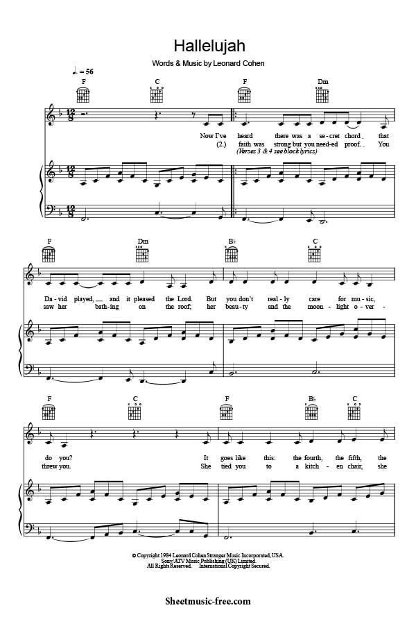Hallelujah Sheet Music Leonard Cohen Download Hallelujah Piano Sheet Music Free PDF Download