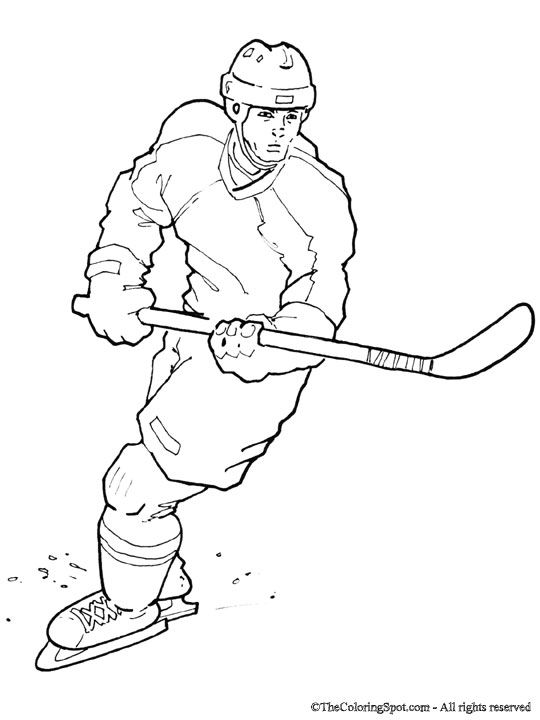 NHL worksheets for kids | thecoloringspot.com: Hockey player coloring sheet