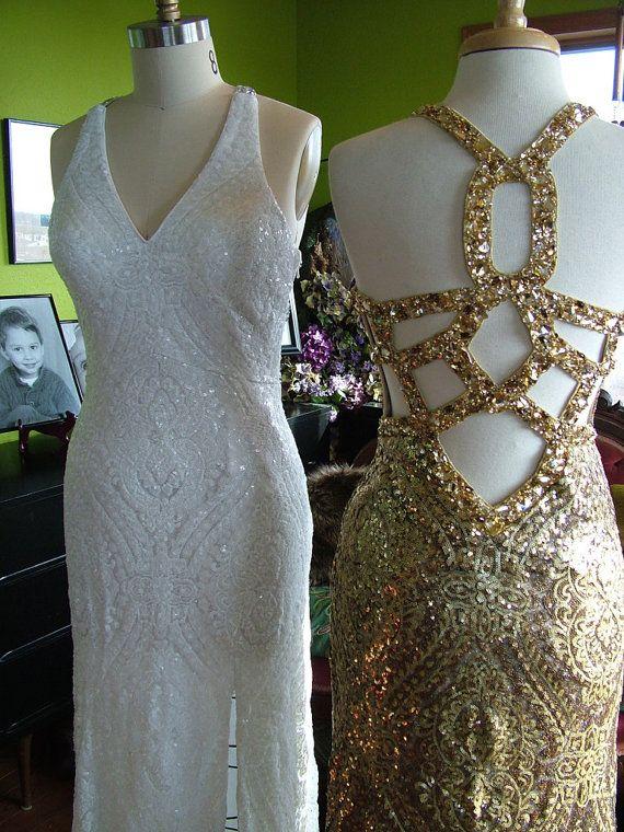 Art deco sequined ivory or gold beaded flapper wedding dress backless dress flapper 1920s 1930s dress