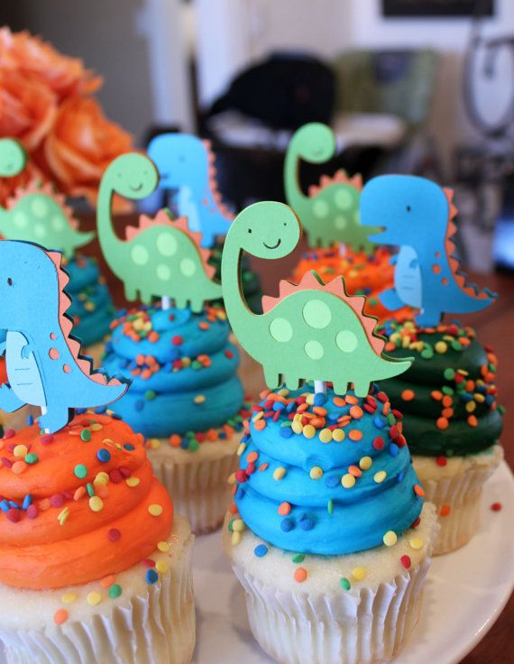 Dinosaur Cupcake Toppers Lime Green Orange and Turquoise Blue Boy Dino Birthday Party Decorations. $18.00, via Etsy.