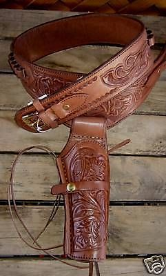 New Brown Leather Single Western Sass Cowboy Holster 38 357 Rig C by GUNS4US