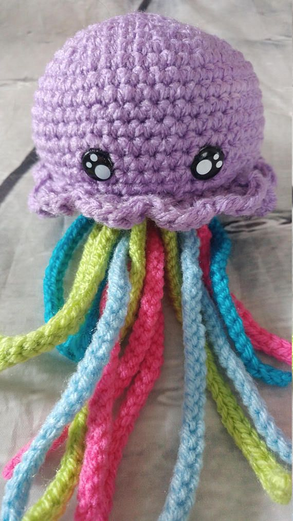 Háčkování - medúza - medúza - medúza zpětné zrcátko - medúza plyšová - hračka pro medúzy - Amurémika Jellyfish - MADE to ORDER