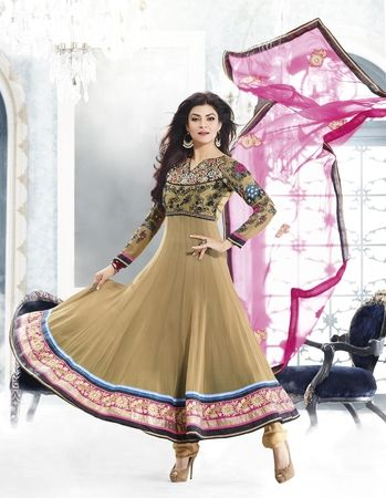 Sushmita Sen in Light Brown Color Designer Bollywood Salwar Suit.
