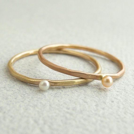 PriyankaSodhi on Etsy tiny pearl stacking rings