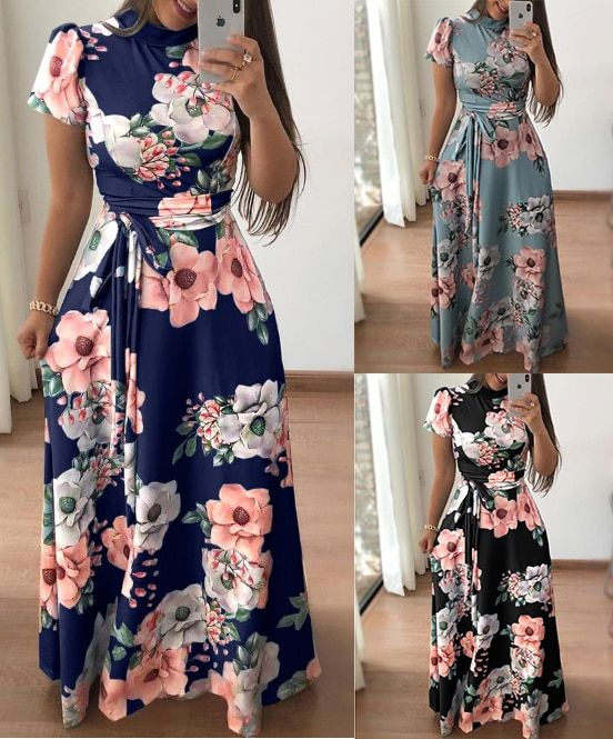 82626eed296 AVODOVAMA M 2018 Summer Dresses Floral Print Casual Loose Maxi Dress Women  Short Sleeve Tie Waist Long Robe Femme-in Dresses from Women s Clothing ...
