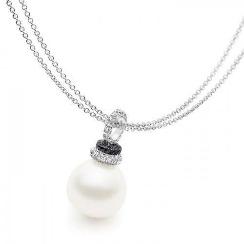 An 18ct white gold Kailis Shimmer Vibrance necklace featuring an Australian South Sea semi-baroque pearl pave set with black and white diamonds. The pearl measures 16-17mm with a bright lustre and very few natural surface marks. Total diamond weight is 1.61ct.