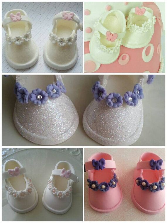 A Pair of Fondant Baby Shoes Cake Topper with Sugar Pearls or Non-Edible Rhinestone Perfect for a baby shower, 1st birthday or christening.