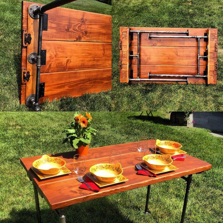 Steel Pipe Folding Table by ModernIndustrialist on Etsy https://www.etsy.com/listing/243355569/steel-pipe-folding-table