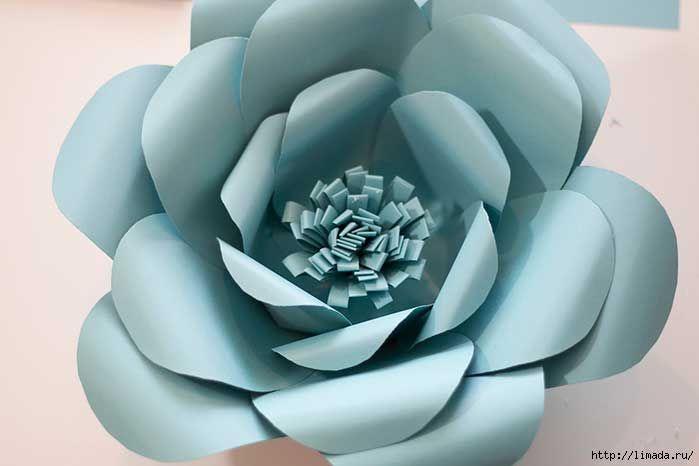 Como hacer flores grandes paso a paso con moldes flores for Rosas de papel