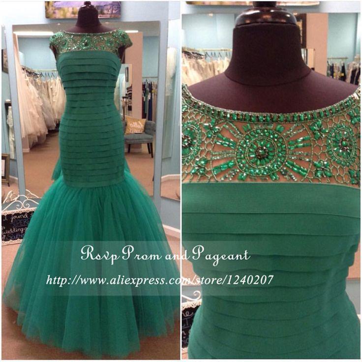 Реальные фото с изумрудно-зеленое платье выпускного вечера 2016 горный хрусталь совок шея короткая Cap рукавом многоуровневое русалка пром платья