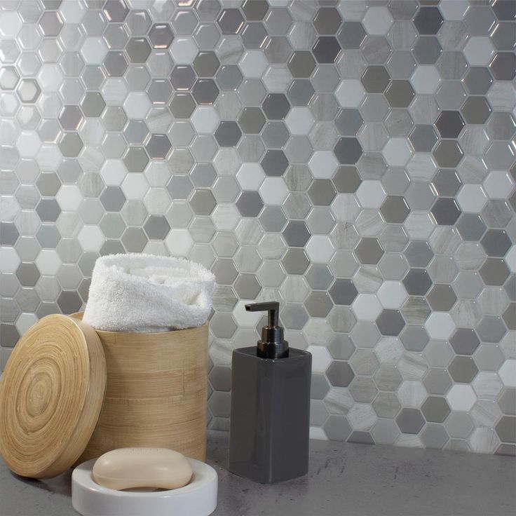 Hexagon Travertino 9 76 in  W x 9 35 in  H Peel and Stick Decorative Mosaic  Wall Tile Backsplash  6 Pack   Gray White Beige. 17 Best ideas about Smart Tiles on Pinterest   Smart tiles