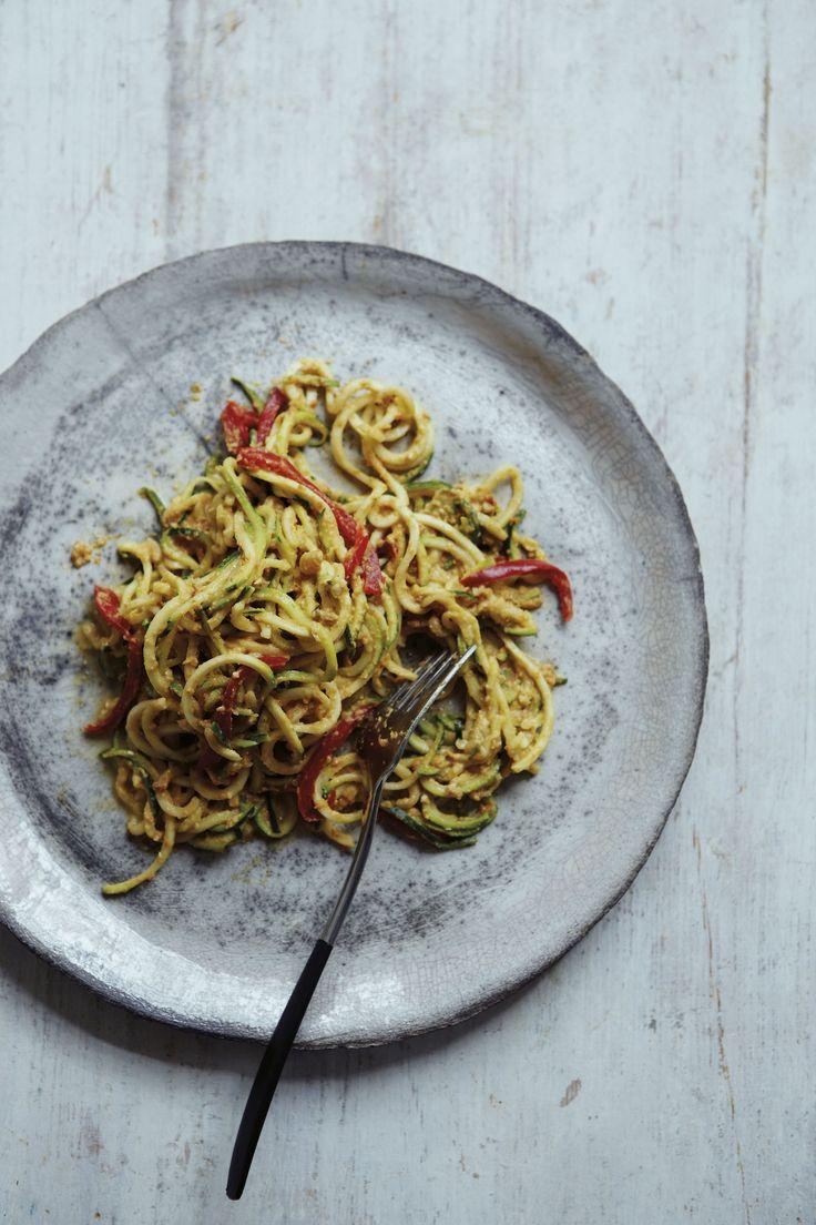 Courgetti Spaghetti with a sun-dried tomato, basil and avocado sauce. #vegan #recipes @juliemontagu #flexiefoodie