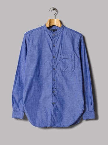 Engineered Garments Banded Collar Shirt (Blue Chambray) – Oi Polloi
