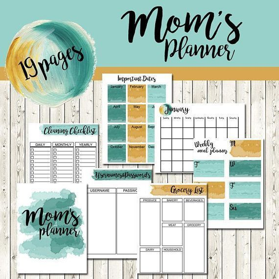 PRINTABLE Calendar Pages Watercolor Monthly PDF Planner - Mom Meal Planner Cleaning Checklist Password List Grocery List Birthday List