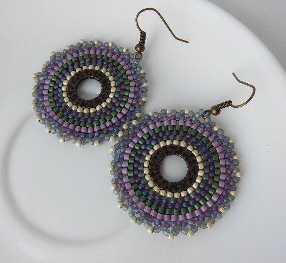 Мандала серьги Ажурные фиолетовые серьги из от ViktoriaBeads